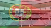 portugalia : Animation of a blowing Portuguese flag in front of a sports stadium