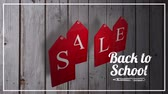 očekávání : Animation of the words Back To School Sale in white and on red hanging tags on a wooden background