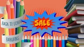 ожидание : Animation of the words Back To School Bargains Sale in yellow on a star shape with books and pencils next to it and on an orange background Стоковые видеозаписи