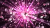 montage : Animation of rotating pink spines of light, with floating translucent pink and white spots of light on a black background Stock Footage
