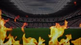 dosažení : Animation of flames surrounding a sports stadium