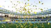 contest : Animation of a sports stadium with golden confetti falling