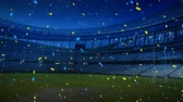 maç : Animation of a sports stadium at night with blue and yellow confetti falling Stok Video