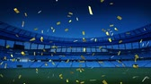 skóre : Animation of a sports stadium at night with golden confetti falling