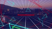 мерцающий : Animation of glowing blue line triangles and red lines floating and distorting over a moving white grid on sunset cityscape background