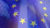 leden : Animation of a blowing EU flag with modern office buildings in the background Stockvideo