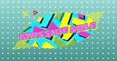 массивный : Animation of the words Massive Sale in pink and shapes displayed on multicoloured oval and on green background with dots Стоковые видеозаписи