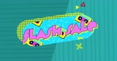 cena : Animation of the words Flash Sale in pink and shapes displayed on turquoise oval and on green striped background Dostupné videozáznamy