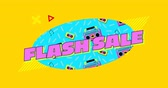 kassette : Animation of the words Flash Sale in pink and shapes displayed on turquoise oval and on yellow patterned background