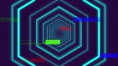 distorsiyon : Animation of glowing blue outline concentric hexagon shapes emanating from the centre and enlarging on dark background with moving blue, green and red rectangles