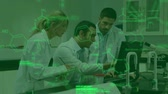 strukturální : Animation of Caucasian male and female scientists working together in a laboratory using laptop, with glowing green data and structural formula of chemical compounds in the foreground