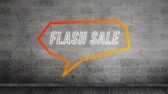 gastos : Animation of the words Flash Sale in white outline letters in an orange angular speech bubble on brick background