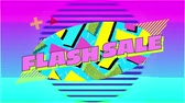oval : Animation of the words Flash Sale in pink letters on a blue oval with yellow and pink shapes and graphic elements, with moving colourful striped circles on purple background Stock Footage