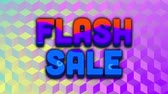 lampe de poche : Animation of the words Flash Sale in blue with colourful swirls on a blue and purple reflective cube patterned background