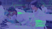 concentrar : Animation of a diverse group of scientists using microscope in a lab with green structural formula of chemical compounds and data moving in the foreground