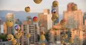 out of focus : Animation of emoji icons flying from left to right over an out of focus cityscape 4k