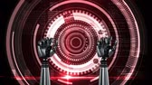clenching : Animation of metal robot hands turning and unclenching fist and data processing with spinning circles on a red background Stock Footage