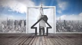nemovitost : Animation of silver house keys and house shaped key fob hanging over a door opening with blue sky with clouds and cityscape in the background