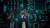 clenching : Animation of metal robot hands turning and unclenching fist over a computer circuit board in the background Stock Footage