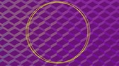 çevreler : Animation of yellow circles and flashing shapes on a purple patterned background Stok Video