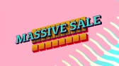 массивный : Animation of the words Massive Sale in blue letters on yellow squares with blue to yellow waves on a pink background