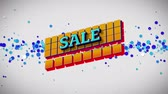 boş zaman : Animation of the word Sale in blue letters on yellow squares with blue dots on a white background