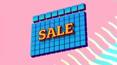 резервный : Animation of the word Sale in yellow letters on blue squares with blue to yellow waves on a pink background