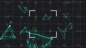 spielraum : Animation of green triangles and scopes moving and flickering on a grid and black background