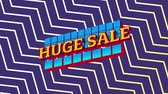 conceitos e idéias : Animation of the words Huge Sale in yellow letters on blue squares with a purple and white zig zag on an purple background