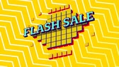 mudanza : Animation of the words Flash Sale in blue letters on yellow squares with a yellow and white zig zag on a yellow background