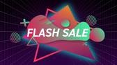 резервный : Animation of the words Flash Sale in white letters on a black background with pink and green abstract shapes and glowing triangles Стоковые видеозаписи