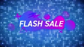 conceitos e idéias : Animation of the words Flash Sale in white letters on a blue glittering background with purple and pink abstract shapes Vídeos