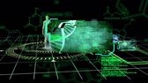 chromozóm : Animation of a green revolving human body and a DNA strand with medical data on a black background