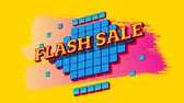 mudanza : Animation of the words Flash Sale in yellow letters on blue squares and pink to yellow paint strokes on a yellow background