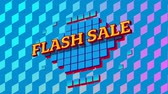 boş zaman : Animation of the words Flash Sale in yellow letters on blue squares on pink and purple patterned background Stok Video