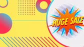 çevreler : Animation of the words Huge Sale in yellow letters on a star shaped banner with colourful shapes moving on the yellow background Stok Video
