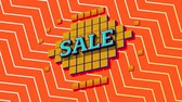 mudanza : Animation of the word Sale in blue letters on yellow squares with an orange and white zig zag on an orange background