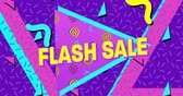 резервный : Animation of the words Flash Sale in yellow letters with a purple triangle and brightly coloured shapes on a purple background 4k Стоковые видеозаписи