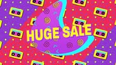 mudanza : Animation of the words Huge Sale in yellow letters with a pink crescent and brightly coloured abstract shapes and tape icons on a dotted purple to red background Archivo de Video