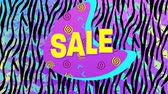 mudanza : Animation of the word Sale in yellow letters with a pink crescent and brightly coloured abstract shapes with a zebra print in the background