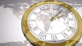 mudanza : Animation of a fast moving old fashioned clock with world map and floating spots in the background Archivo de Video