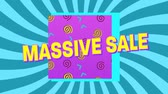 conceitos e idéias : Animation of the words Massive Sale in yellow letters with a pink square and brightly coloured abstract shapes with blue stripes rotating in the background