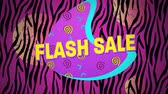 conceitos e idéias : Animation of the words Flash Sale in yellow letters with a pink crescent and brightly coloured abstract shapes with colourful zebra print in the background