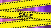 list : Animation of the word Sale in black letters on yellow tape and colourful stripes in the background