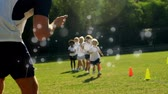 çevreler : Animation of white spots of defocused twinkling light passing in front of young children running to camera across a field Stok Video