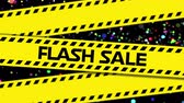 mancha : Animation of the words Flash Sale in black letters with yellow tape and colourful spots on a black background