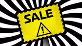 cena : Animation of the word Sale in black letters and a warning triangle on a yellow sign with black and white stripes rotating in the background