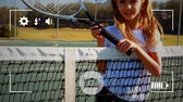sportovní výstroj : Animation of a portrait of a pre teen Caucasian girl holding a tennis racket and smiling to camera, seen on a screen of a smartphone in picture mode with icons in the foreground Dostupné videozáznamy