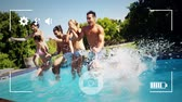 atlama : Animation of a group of young Caucasian male and female friends holding hands and jumping into a swimming pool, seen on a screen of a smartphone in picture mode with icons in the foreground
