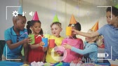 freundlichkeit : Animation of pre teen multi-ethnic children in party hats at a birthday party, seen on a screen of a smartphone in picture mode with icons in the foreground